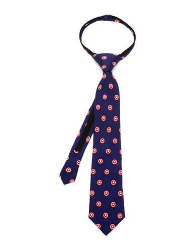 Cufflinks Inc. Marvel Comics Captain America Zipper Silk Tie-BLUE-One Size