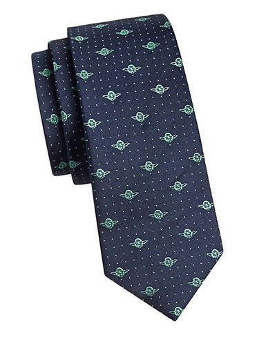 Cufflinks Inc. Yoda Dot Slim Silk Tie-NAVY-One Size