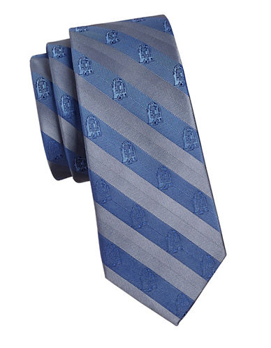 Cufflinks Inc. R2D2 Stripe Slim Silk Tie-BLUE-One Size