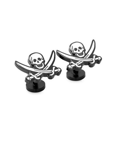 Cufflinks Inc. Pirates Skull and Crossbones Cufflinks-BLACK-One Size
