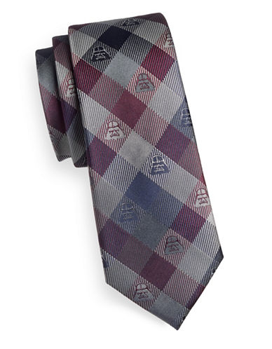 Cufflinks Inc. Darth Vader Plaid Silk Tie-PURPLE/BLACK-One Size