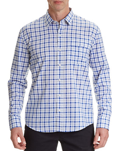 Wrk Berkley Plaid Sport Shirt-ROYAL BLUE-Medium