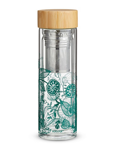 Core Home Printed Bamboo-Lid Infuser-BLUE-One Size