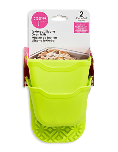 Core Home Two-Piece Textured Silicone Oven Mitts Set-LIME-One Size