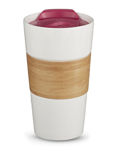Core Home 16oz Ceramic Bamboo Grip Mug-PINK-16 Ounces