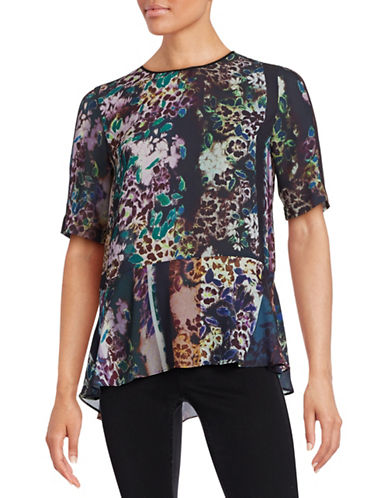 Clover Canyon Floral Asymmetrical Hem Top-BLACK-Small 87771027_BLACK_Small