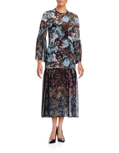 Clover Canyon Floral Sunset Drop Waist Dress-MULTI-Large