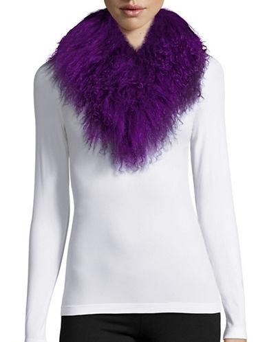 Adrienne Landau Mongolian Lamb Fur Clip Scarf-PURPLE-One Size