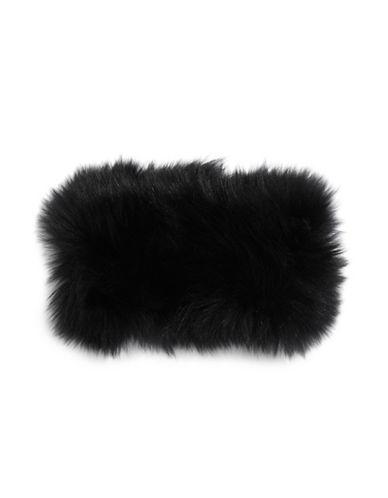 Image of Adrienne Landau Fox Fur Headband-BLACK-One Size