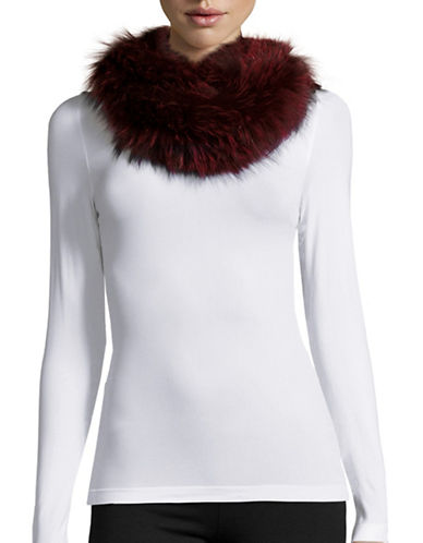 Image of Adrienne Landau Fox Fur Infinity Loop Scarf-RED-One Size