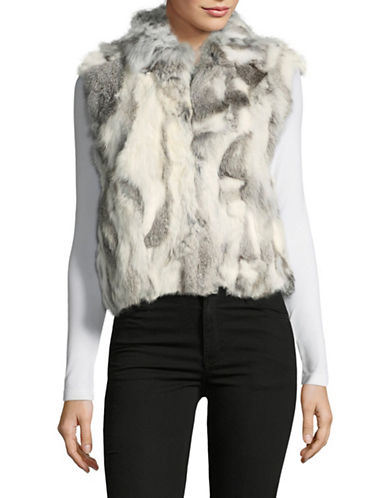 Adrienne Landau Adlan Rabbit Fur Vest-NAT GREY-Medium