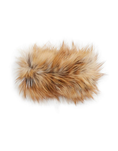 Adrienne Landau Fox Fur Headband-DARK BROWN-One Size