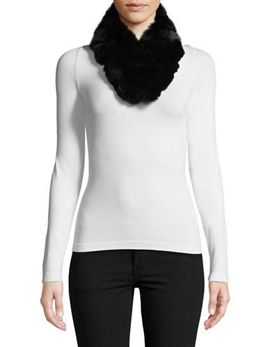Adrienne Landau Dyed Fox Fur Shawl-BLACK-One Size