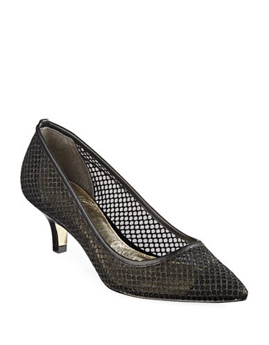 Adrianna Papell Lois Glitter Mesh Pumps-BLACK-9
