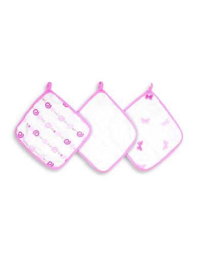 Aden By Aden And Anais Girls N Swirls Cotton Washcloth Set-PINK-One Size