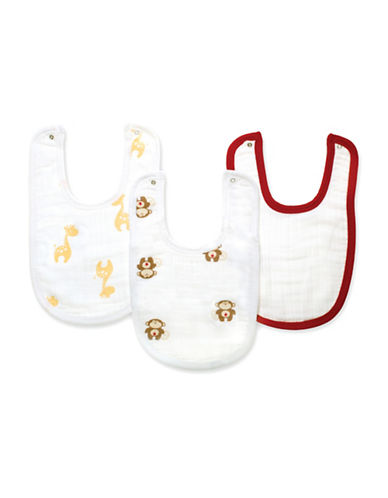 Aden By Aden And Anais Three-Pack Safari Friends Cotton Muslin Bibs-BROWN-One Size