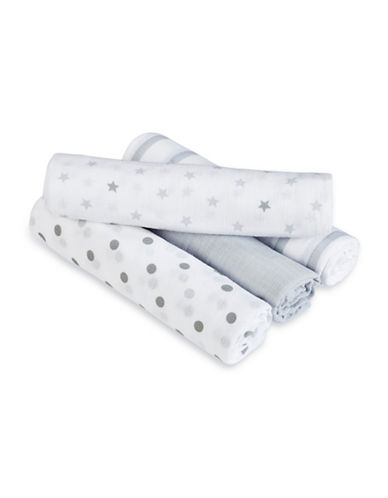 Aden By Aden And Anais Four-Pack Classic Muslin Dove Swaddles Blankets-GREY-One Size
