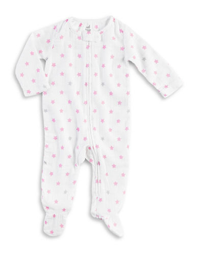 Aden By Aden And Anais Darling Glow Footie-WHITE/PINK-6-9 Months