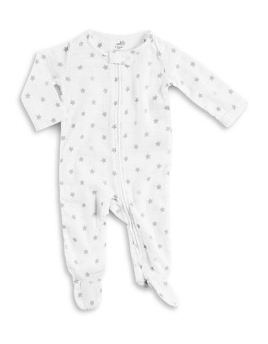 Aden By Aden And Anais Long Sleeve Star Print Footie-GREY-6-9 Months