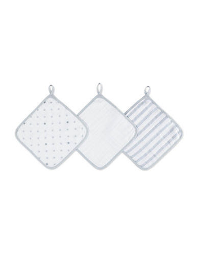 Aden By Aden And Anais Dove Cotton Washcloth Set-GREY-One Size