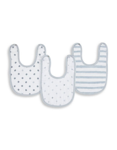 Aden By Aden And Anais Three-Pack Dove Cotton Muslin Bibs-GREY-One Size
