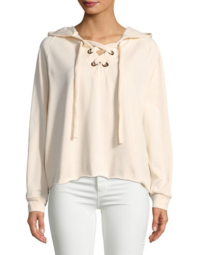 Design Lab Lord & Taylor Grommet Lace-Up Sweatshirt-IVORY-Large