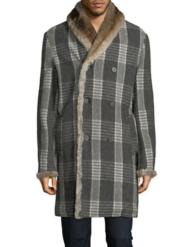 Matiere Plaid Faux Fur-Trim Wool-Blend Coat-GREY-Large