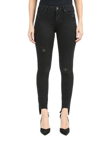 Articles Of Society Denim Step Hem Skinny Jeans-BLACK-27
