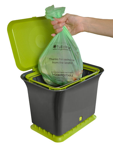 Full Circle Fresh Air Kitchen Compost Collector with Compost Bags-GREEN-One Size