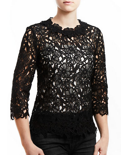 Project Gravitas Jane Lace Three-Quarter Sleeve Top-BLACK-X-Small 88895575_BLACK_X-Small
