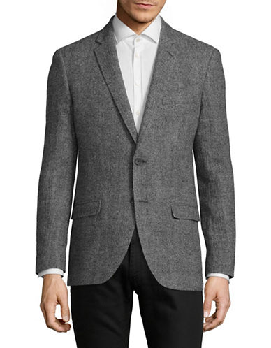 Black Brown 1826 Winter Seersucker Plaid Sports Jacket-CHARCOAL-Large