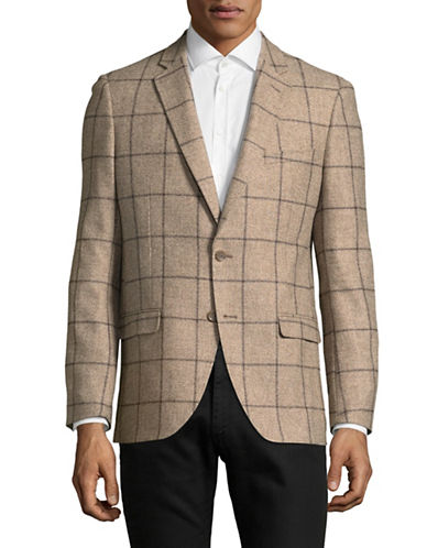 Black Brown 1826 Italian Plaid Silk-Cashmere Sportcoat-NATURAL-Large