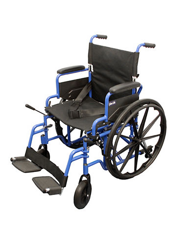 Ezee Life Alum Wheelchair 18-Inch Flip Back Arms-BLUE-One Size