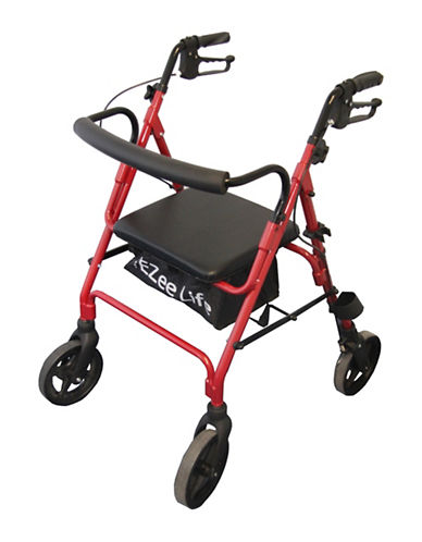Ezee Life Premium Foldable Rollator-RED-One Size