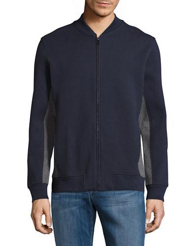 Black Brown 1826 Double Knit Baseball Jacket-DARK NAVY-Small