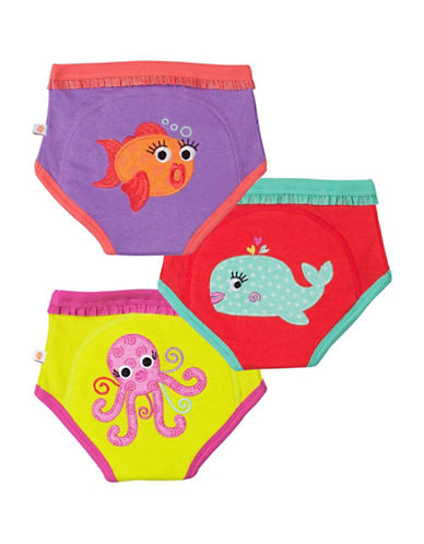 Zoocchini Three-Pack Girls Ocean Friends Training Pants-MULTI-3 Toddler