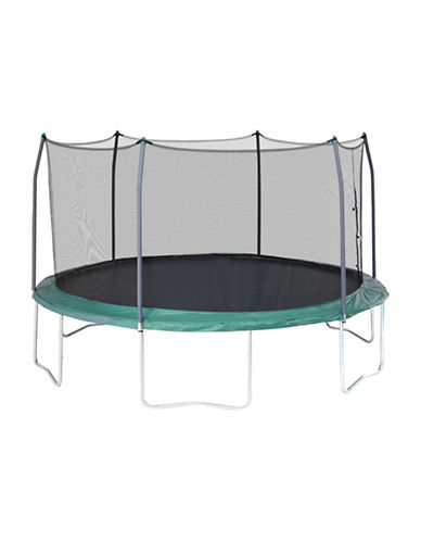 Skywalker Trampolines 15-Foot Round Trampoline with Enclosure-GREEN-One Size