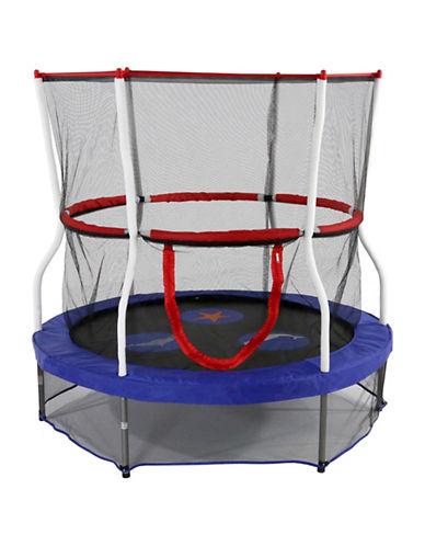 Skywalker Trampolines 60-Inch Round Seaside Adventure Trampoline Mini Bouncer with Enclosure-BLUE-One Size