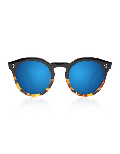 Illesteva Leonard 2 Round Sunglasses-HALF/HALF TORTOISE WITH BLUE MIRRORED LENSES-One Size