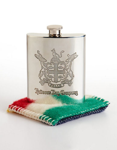 HudsonS Bay Company Heritage Flask with Multi Stripe Blanket Sleeve-MULTI-STRIPE-One Size