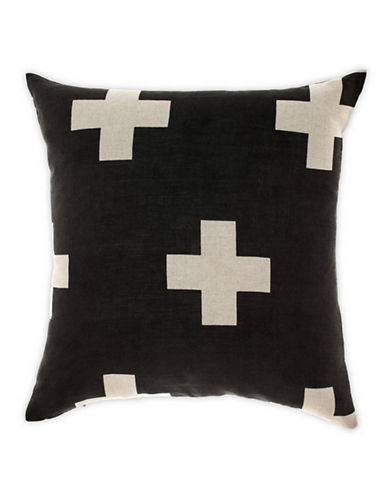 Aura Crosses Decorative Cushion-BLACK-One Size