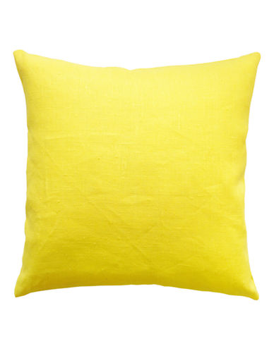 Distinctly Home Square Linen Cushion-YELLOW-One Size