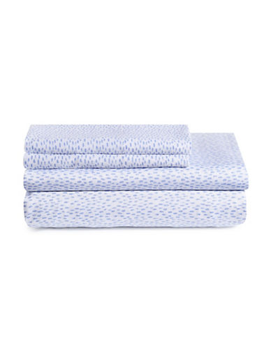 Bluebellgray Four-Piece Rain Sateen Sheet Set-BLUE-Double