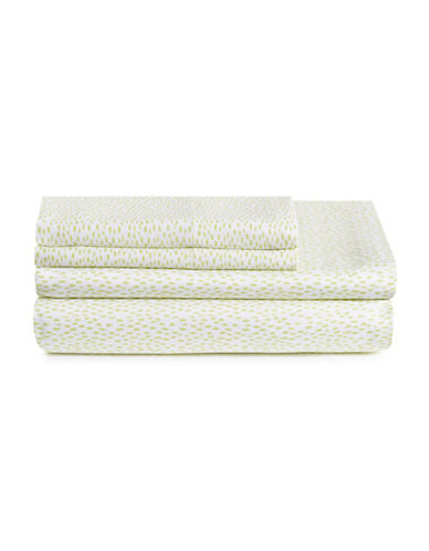 Bluebellgray Four-Piece Rain Sateen Sheet Set-CHARTREUSE-Queen
