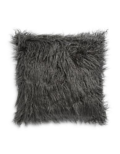 Distinctly Home Shaggy Square Faux Fur Cushion-GREY-One Size