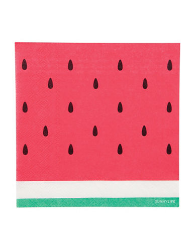 Sunnylife 20-Piece Watermelon-Print Paper Napkins Set-RED-One Size 88438451_RED_One Size