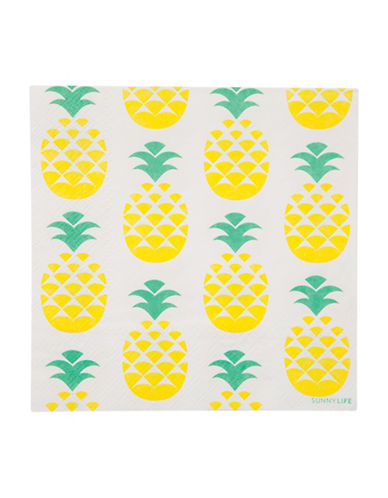 Sunnylife 20-Piece Pineapple-Print Paper Napkins Set-YELLOW-One Size 88438453_YELLOW_One Size