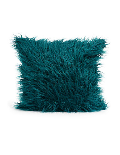 Distinctly Home Shaggy Square Faux Fur Cushion-JADE-One Size