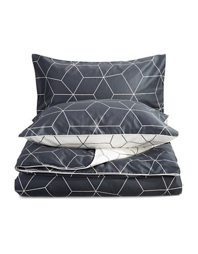 Aura Sine 360 Thread-Count Three-Piece Duvet Cover Set-SLATE-King