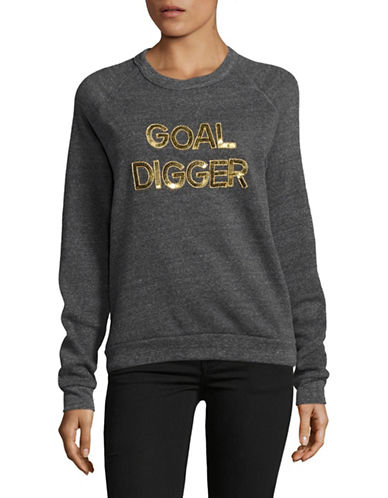 Bow And Drape Goal Digger Boyfriend Fit Sweatshirt-CHARCOAL-Small